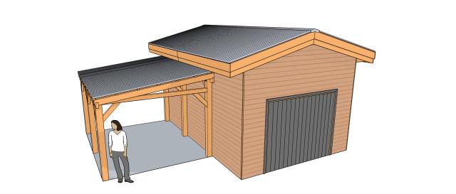 Abri garage deux pentes avec carport adoss variante 11b cabanes abris - Plan d un carport adosse ...